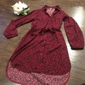 A New Day animal print high low button down dress